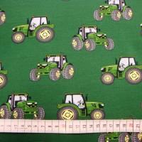 Baumwolljersey Druck grüner Trecker auf dunkelgrün Bulldog Landwirtschaft-Maschinen Glünzstoffe Jungs Männer Geschenke  Bild 2