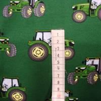 Baumwolljersey Druck grüner Trecker auf dunkelgrün Bulldog Landwirtschaft-Maschinen Glünzstoffe Jungs Männer Geschenke  Bild 3