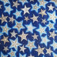 Patchworkstoff - gelbe Sternchen mit Kringel auf blauem Hintergrund,  SSI Studio Nr. 055 Bild 10
