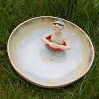 Vogeltränke aus Ton - lustige Gartenkeramik für humorvolle Gärtner - Garten Kunst für sie Bild 6