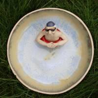 Vogeltränke aus Ton - lustige Gartenkeramik für humorvolle Gärtner - Garten Kunst für sie Bild 7