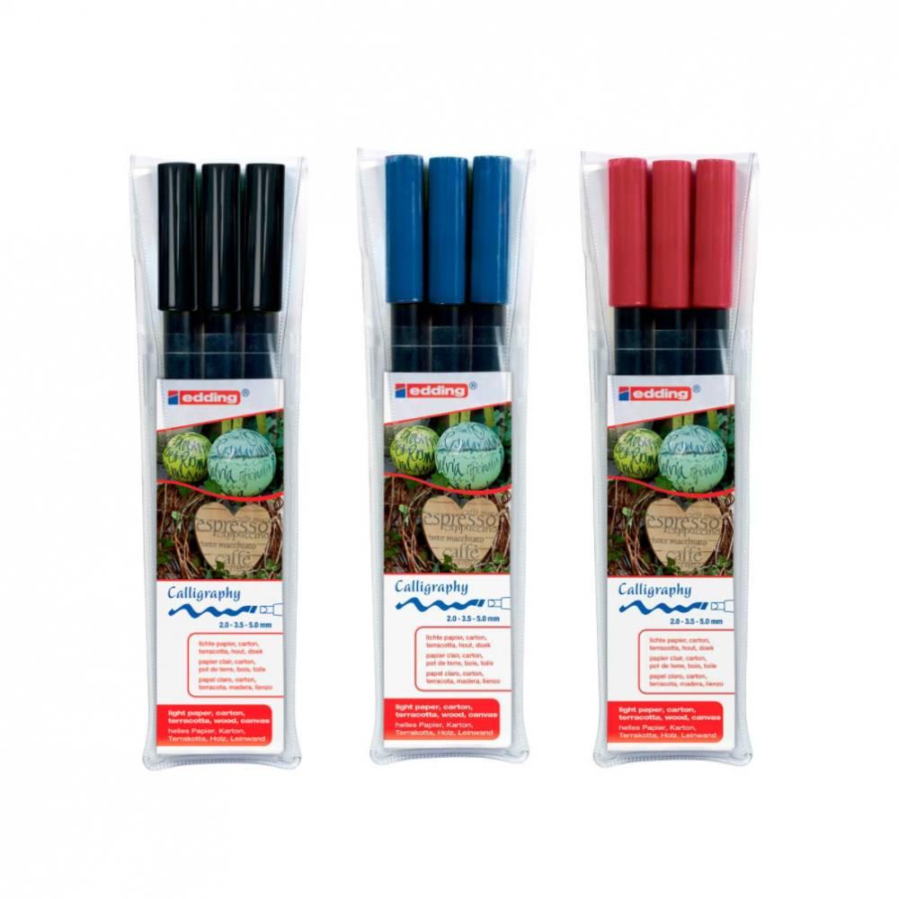 Calligraphy Stift 2,0, 3,5, 5,0 mm Schwarz, Rot, Blau Bild 1