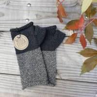 Armstulpen - Handstulpen - Pulswärmer aus Wolle (Merino) - anthrazit / grau Bild 1
