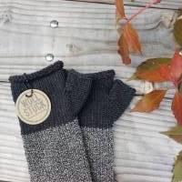 Armstulpen - Handstulpen - Pulswärmer aus Wolle (Merino) - anthrazit / grau Bild 2