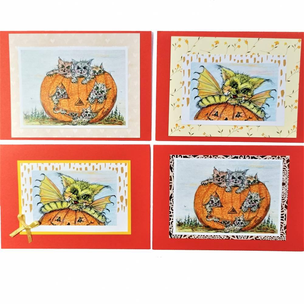 Halloween Katzen mit Kürbis Karten Set Katzenkarten Kartenset Herbst Geburtstagskarte Bild 1