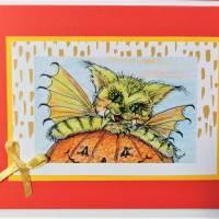 Halloween Katzen mit Kürbis Karten Set Katzenkarten Kartenset Herbst Geburtstagskarte Bild 2