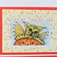 Halloween Katzen mit Kürbis Karten Set Katzenkarten Kartenset Herbst Geburtstagskarte Bild 4