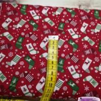 Webware Baumwolle Popeline Weihnachtssocken rot Bild 2