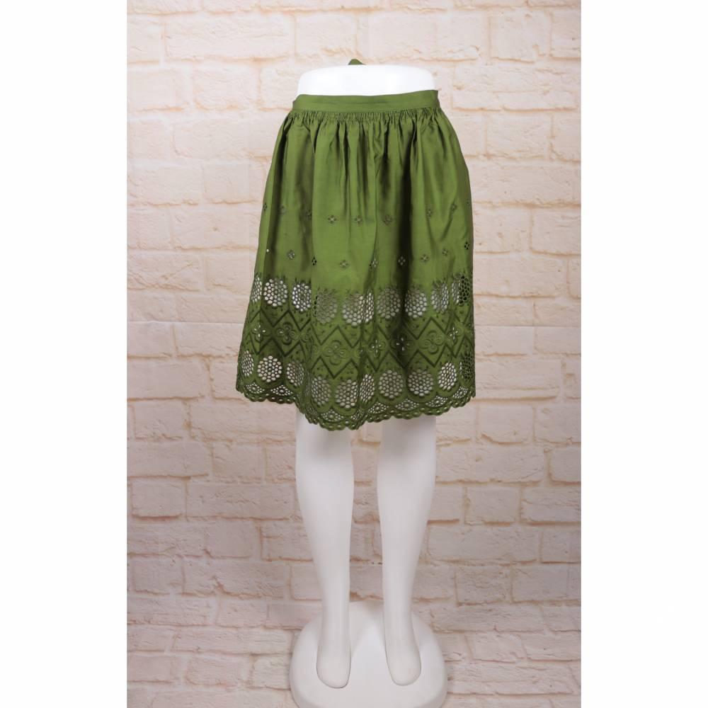 Vintage Schürze Grün Moos Waldgrün Rüschen Dirndl Rockabilly Lochspitze Trachtenschürze Dirndl Hausfrau one Size Bild 1