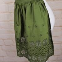 Vintage Schürze Grün Moos Waldgrün Rüschen Dirndl Rockabilly Lochspitze Trachtenschürze Dirndl Hausfrau one Size Bild 5