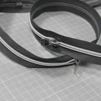 Endlos-Reißverschluss Metalloptik in grau 6mm Meterware Bild 1