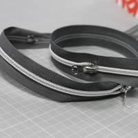 Endlos-Reißverschluss Metalloptik in grau 6mm Meterware Bild 2