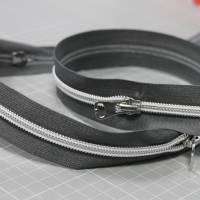 Endlos-Reißverschluss Metalloptik in grau 6mm Meterware Bild 3