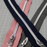 Endlos-Reißverschluss Metalloptik in grau 6mm Meterware Bild 6