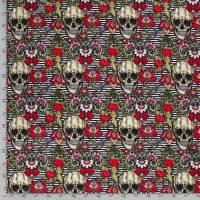 Softshell  mit Fleece -  Abseite, Totenkopf Skulls Streifen Digital Druck schwarz( 1m/18,00€ ) Bild 2