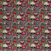 Softshell  mit Fleece -  Abseite, Totenkopf Skulls Streifen Digital Druck schwarz( 1m/18,00€ ) Bild 3