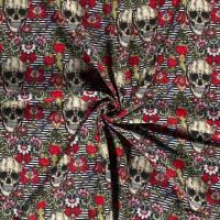 Softshell  mit Fleece -  Abseite, Totenkopf Skulls Streifen Digital Druck schwarz( 1m/18,00€ ) Bild 4