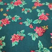 Patchworkstoff kleine rote Christrosen  auf grünem Hintergrund von Fabri Quilt Saison Greetings 216 Nr. 41 Bild 1