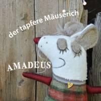 AMADEUS/ der tapfere Mäuserich   Stoffunikat waschbar nachhaltig Kuschltier Schmussekissen Wegbegleiter Unikat Stoffkuns Bild 1