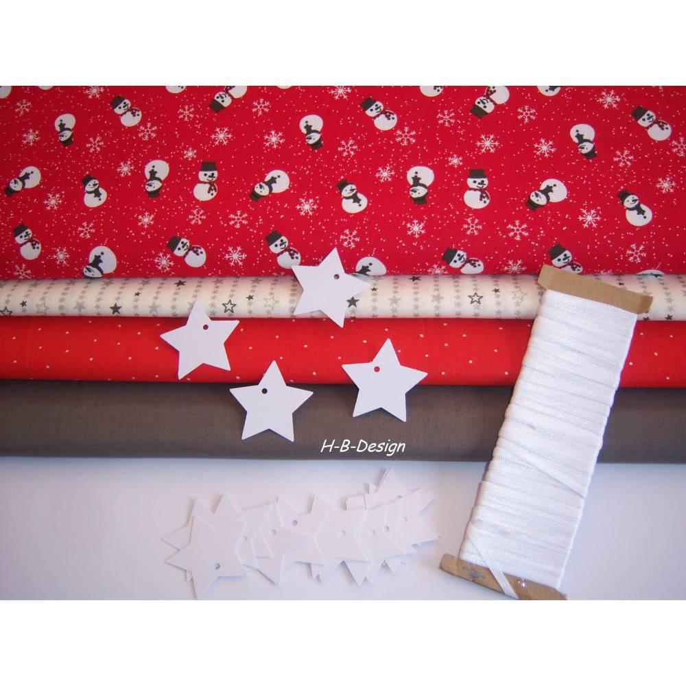 Diy-Nähset-Adventskalender nähen, Stoffpaket Adventskalender-Weihnachten-Schneemann-Beutel, Säckchen-Nähprojekt, nähen, Bild 1