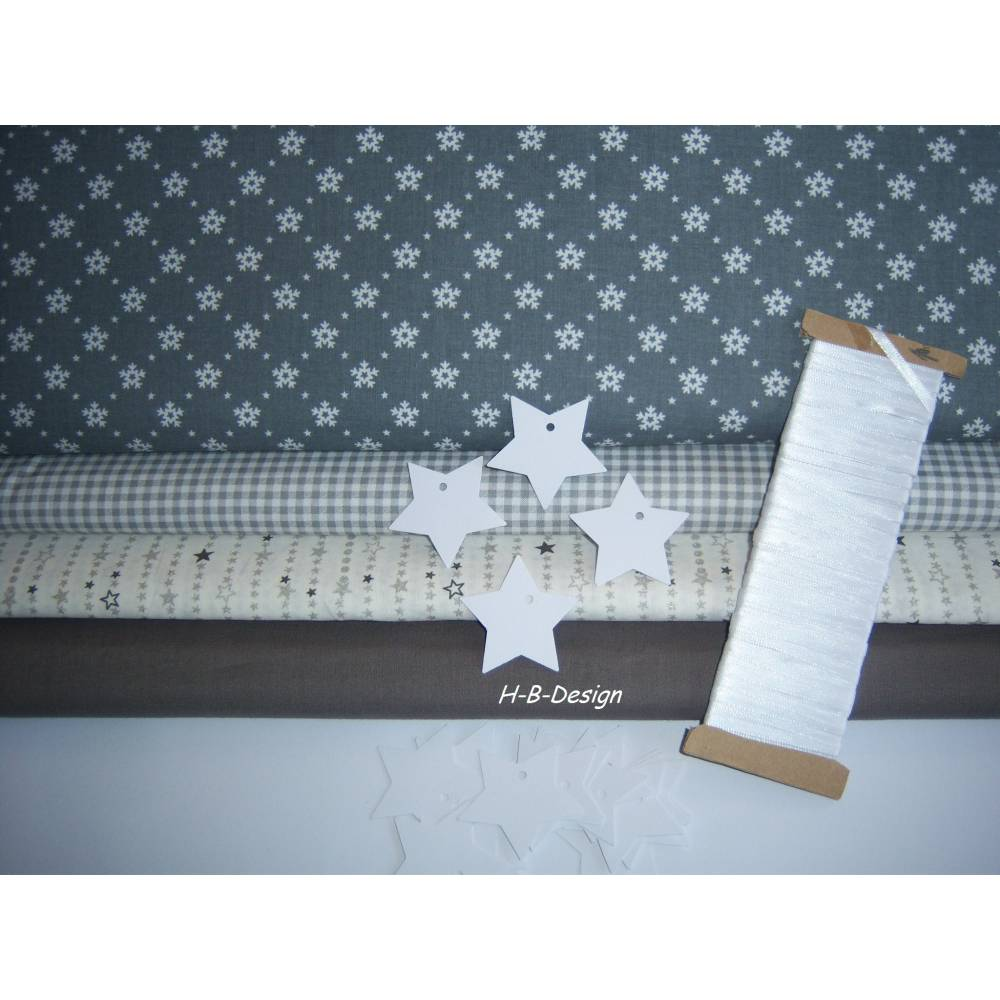 Diy-Nähset-Adventskalender nähen, Stoffpaket Adventskalender-Weihnachten-Eiskristall-Sterne-Beutel, Säckchen-Nähprojekt, Bild 1