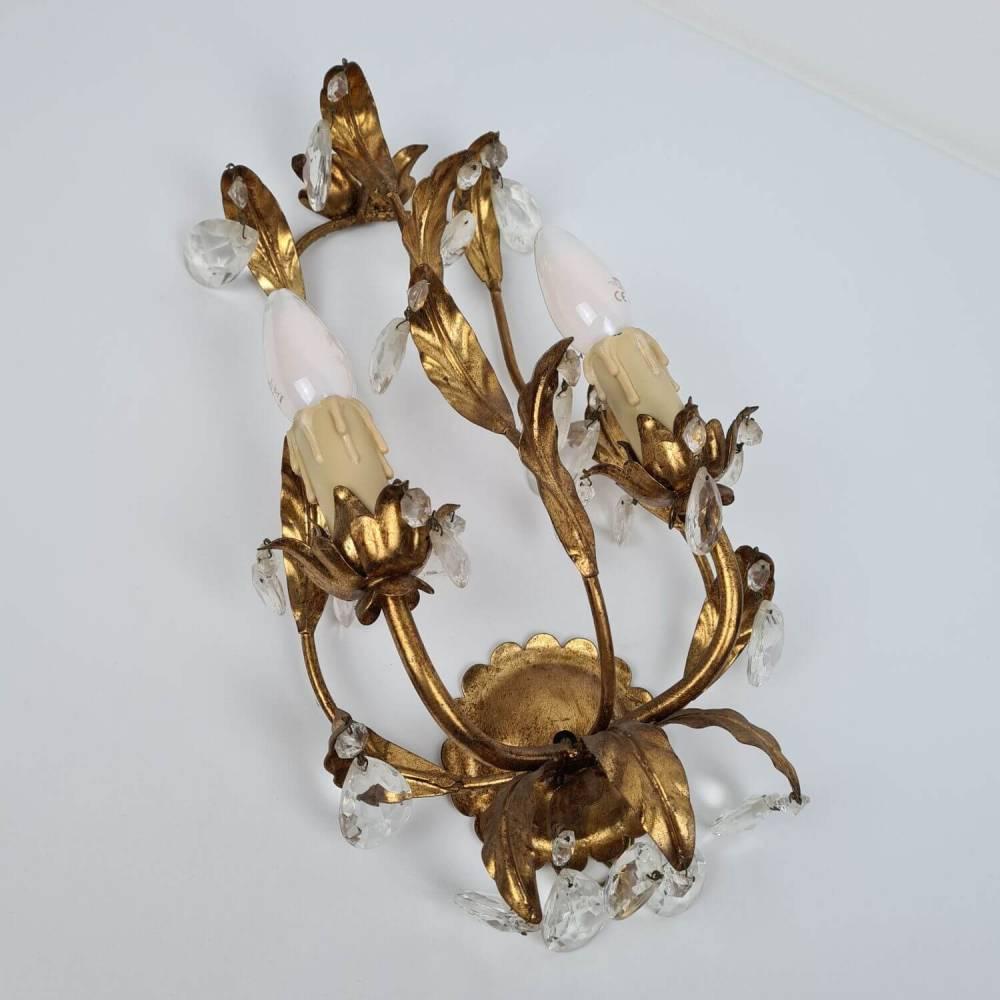 Zwei prunkvolle Florentiner Wandlampen - Paar Wandleuchten mit Kristall Bild 1