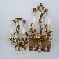 Zwei prunkvolle Florentiner Wandlampen - Paar Wandleuchten mit Kristall Bild 2