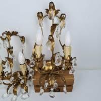 Zwei prunkvolle Florentiner Wandlampen - Paar Wandleuchten mit Kristall Bild 4