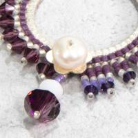lässiger beadwork anhänger, kettenanhänger, weiß lila, geschenk weihnachten Bild 3