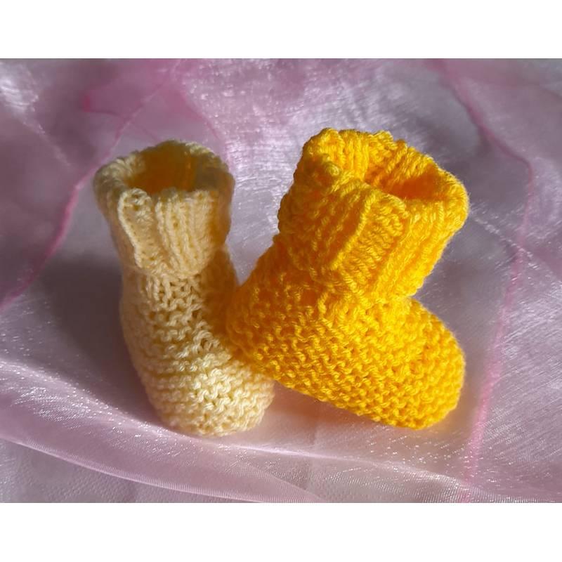 Babyschuhe Frühchen gestrickt Sohle ca. 8 cm Bild 1