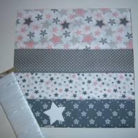 Diy-Nähset-Adventskalender nähen,Stoffpaket, Eiskristalle-Schneefrauen-Sterne-Punkte, Beutel-Säckchen-Nähprojekt, Bild 1