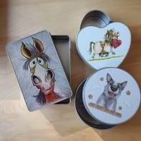 Geschenkbox, Leckerli-Box, Blechdose für Hunde-, Pferde-, Katzenfreunde Bild 1
