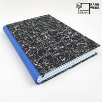 Notizbuch, königs-blau, Katze schwarz weiß, A5, 300 Seiten, handgefertigt, Hardcover Bild 1