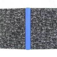 Notizbuch, königs-blau, Katze schwarz weiß, A5, 300 Seiten, handgefertigt, Hardcover Bild 2