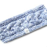 Stirnband mit Zopfmuster von Hand gestrickt aus Baumwolle zweifarbig mit weiß, auf Wunsch mit Fleece gefüttert Bild 3