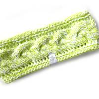Stirnband mit Zopfmuster von Hand gestrickt aus Baumwolle zweifarbig mit weiß, auf Wunsch mit Fleece gefüttert Bild 4