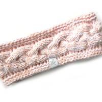 Stirnband mit Zopfmuster von Hand gestrickt aus Baumwolle zweifarbig mit weiß, auf Wunsch mit Fleece gefüttert Bild 5