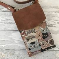 Handtasche Handytasche Fächertasche Little Foksa beschichtetes Leinen Katzen Baumwolle Bild 1