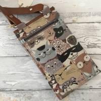 Handtasche Handytasche Fächertasche Little Foksa beschichtetes Leinen Katzen Baumwolle Bild 2