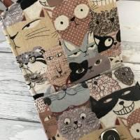 Handtasche Handytasche Fächertasche Little Foksa beschichtetes Leinen Katzen Baumwolle Bild 4