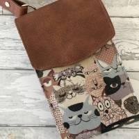 Handtasche Handytasche Fächertasche Little Foksa beschichtetes Leinen Katzen Baumwolle Bild 5