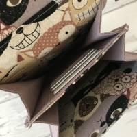 Handtasche Handytasche Fächertasche Little Foksa beschichtetes Leinen Katzen Baumwolle Bild 6