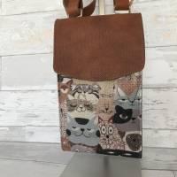 Handtasche Handytasche Fächertasche Little Foksa beschichtetes Leinen Katzen Baumwolle Bild 7