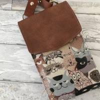 Handtasche Handytasche Fächertasche Little Foksa beschichtetes Leinen Katzen Baumwolle Bild 8