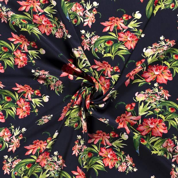 Viskose Blüten Blumen marine (1m/10,-€) Bild 1