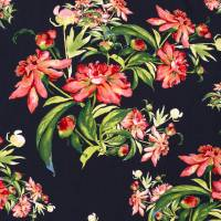 Viskose Blüten Blumen marine (1m/10,-€) Bild 3