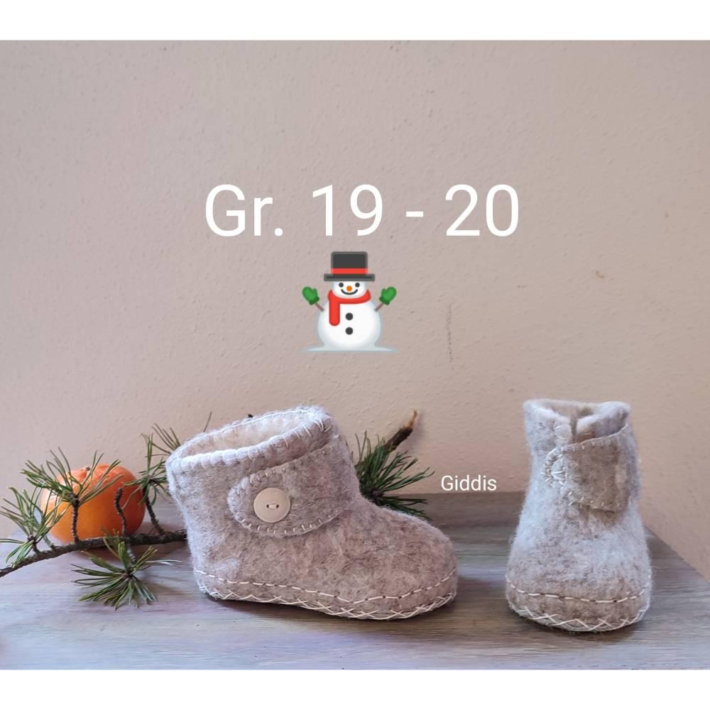 Baby Filzschuhe - Filzstiefelchen, Gr. 19/20, cappuccinobraun/creme Bild 1