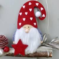 Türkranz* mit Wichtel-Zwerg auf Ast, rote Weihnachts-Fensterdeko für den Advent Bild 4