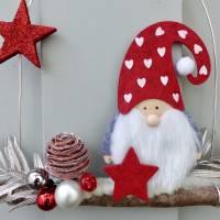 Türkranz* mit Wichtel-Zwerg auf Ast, rote Weihnachts-Fensterdeko für den Advent Bild 5