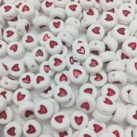 DIY Materialpaket Perlen, 390 Perlen rund mit Herz rot, 7 mm Bild 1
